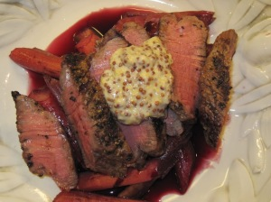 Steak with Rhubarb, Red Wine and Mustard Sauce