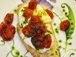 Parmesan-Crusted Chicken with Fresh Cheese, Caramelized Tomatoes & Basil Oil