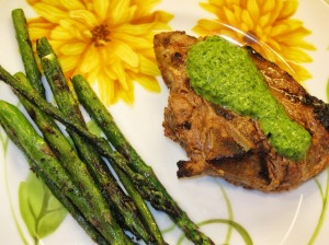 Lamb Chops with Green Herb Chutney & Grilled Asparagus