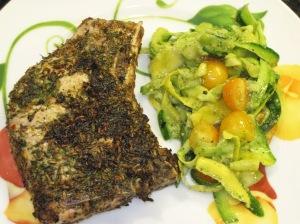 Fennel-Crusted Porchetta Chops with Zucchini Ribbon Salad