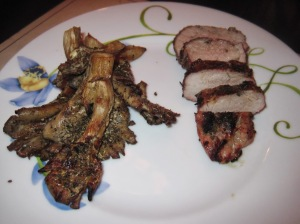 Julia Child's Pork Tenderloin with Grilled Marinated Mushrooms