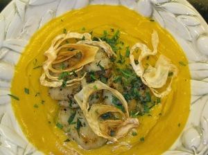 Seared Scallops over Squash Soup with Fennel Chips
