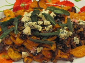 Roasted Sweet Potatoes with Stilton and Fried Sage