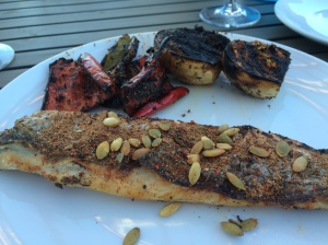 Grilled Rockfish with Charred Eggplant and Peppers
